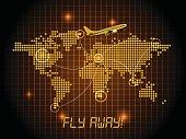 Fly away map - orange design