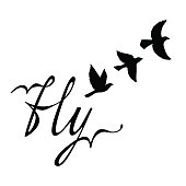 Fly. Inspirational quote about happy. Modern calligraphy phrase with hand drawn silhouette birds.