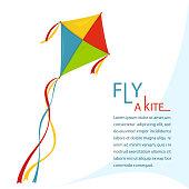 Fly Kite in Sky, vector