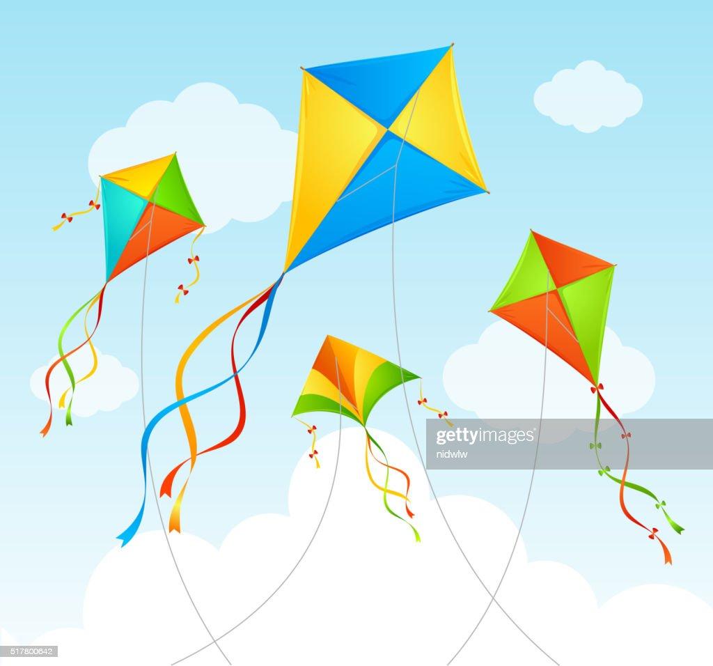 Fly Kite Summer Background. Vector