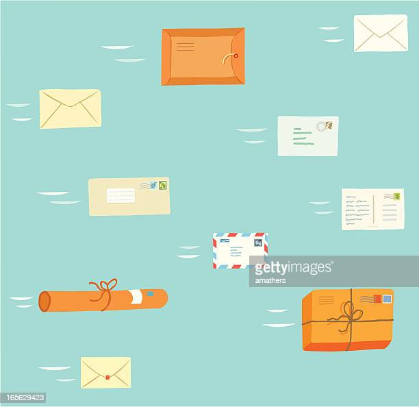 fly mail - envelope stock illustrations, clip art, cartoons, & icons