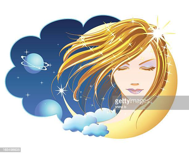 fly me to the moon - goddess stock illustrations, clip art, cartoons, & icons