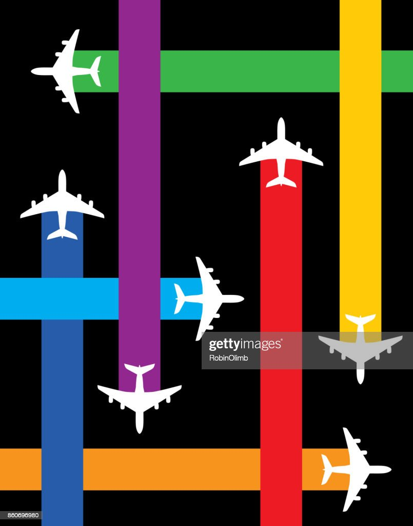 Fly Plane Paths : stock illustration