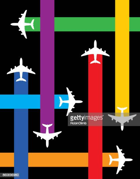 fly plane paths - vapor trail stock illustrations, clip art, cartoons, & icons