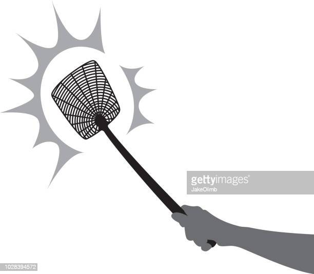 fly swatter smack silhouette - slapping stock illustrations