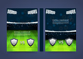Flyer Football championship banner book. Cover match A4 size paper, Template design element, Vector background