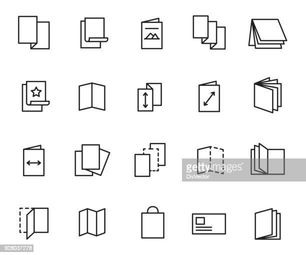 flyer icon set - folded stock illustrations