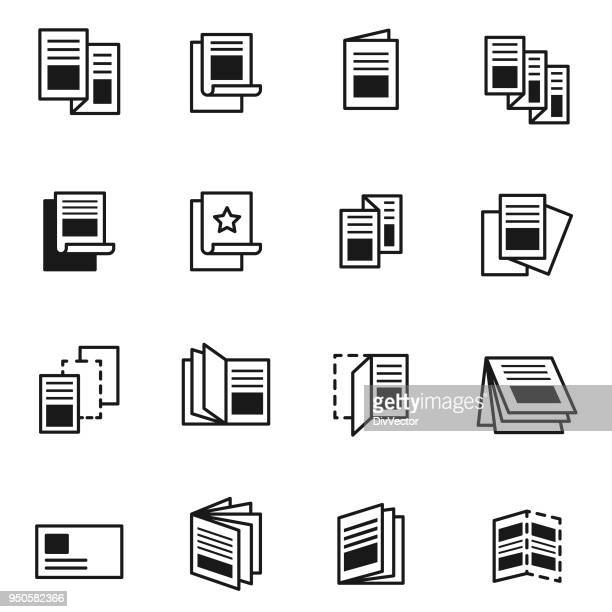 flyer icon set - publisher stock illustrations