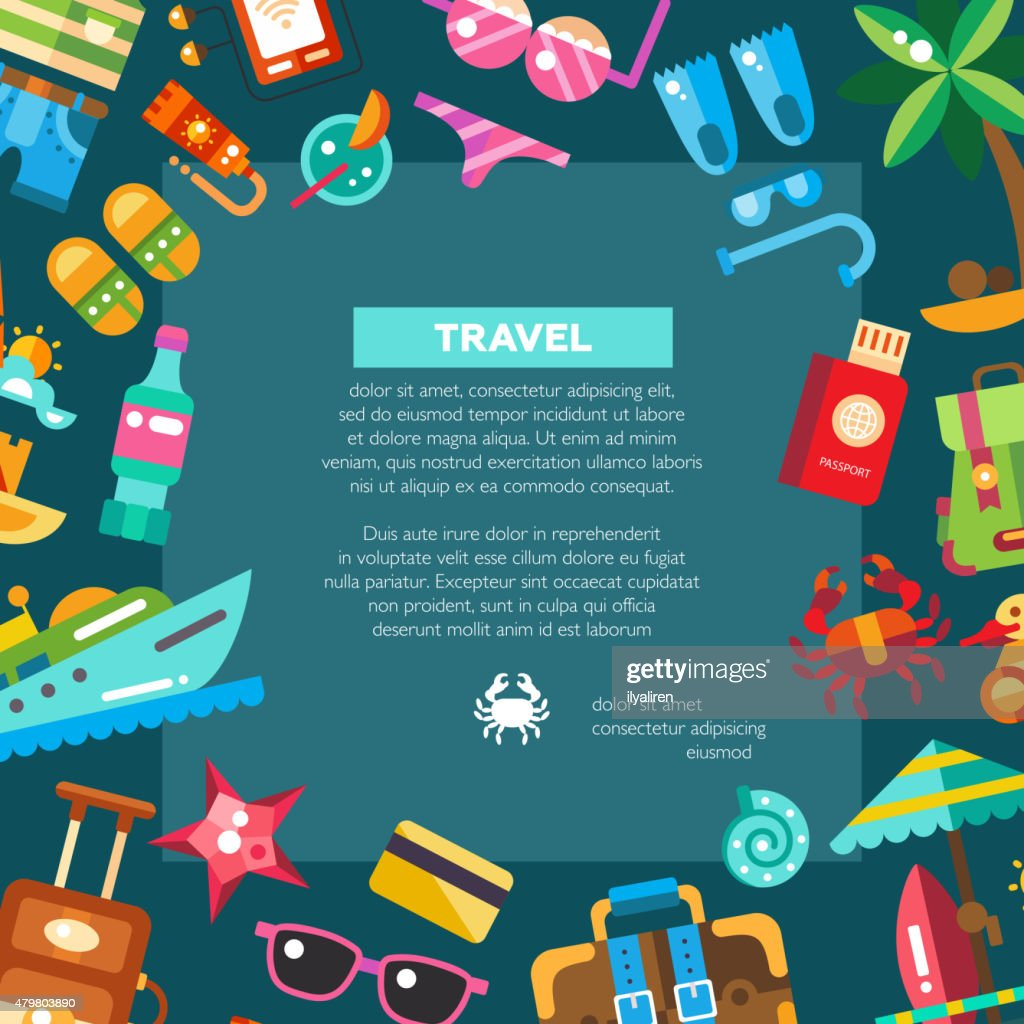 Flyer of modern flat design seaside travel vacation icons and