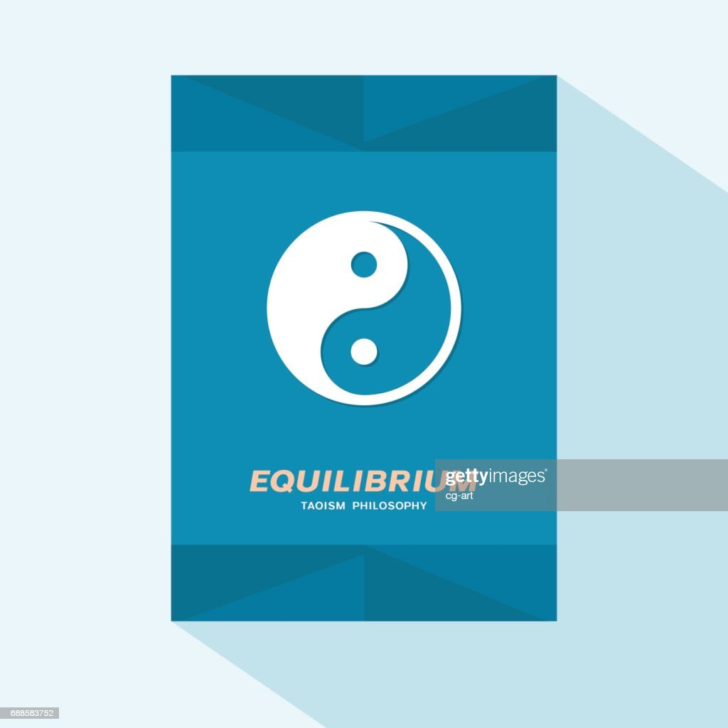 Flyer or brochure cover flat design with Yin Yang symbol