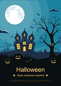 Flyer or invitation card template for Halloween party. Halloween background with pumpkins and scary castle on graveyard.