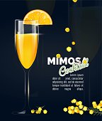 Flyer or poster design with mimosa cocktail