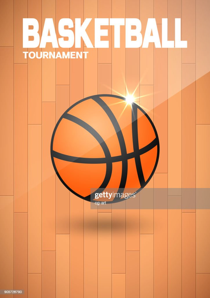 Flyer or web banner design with basketball ball icon