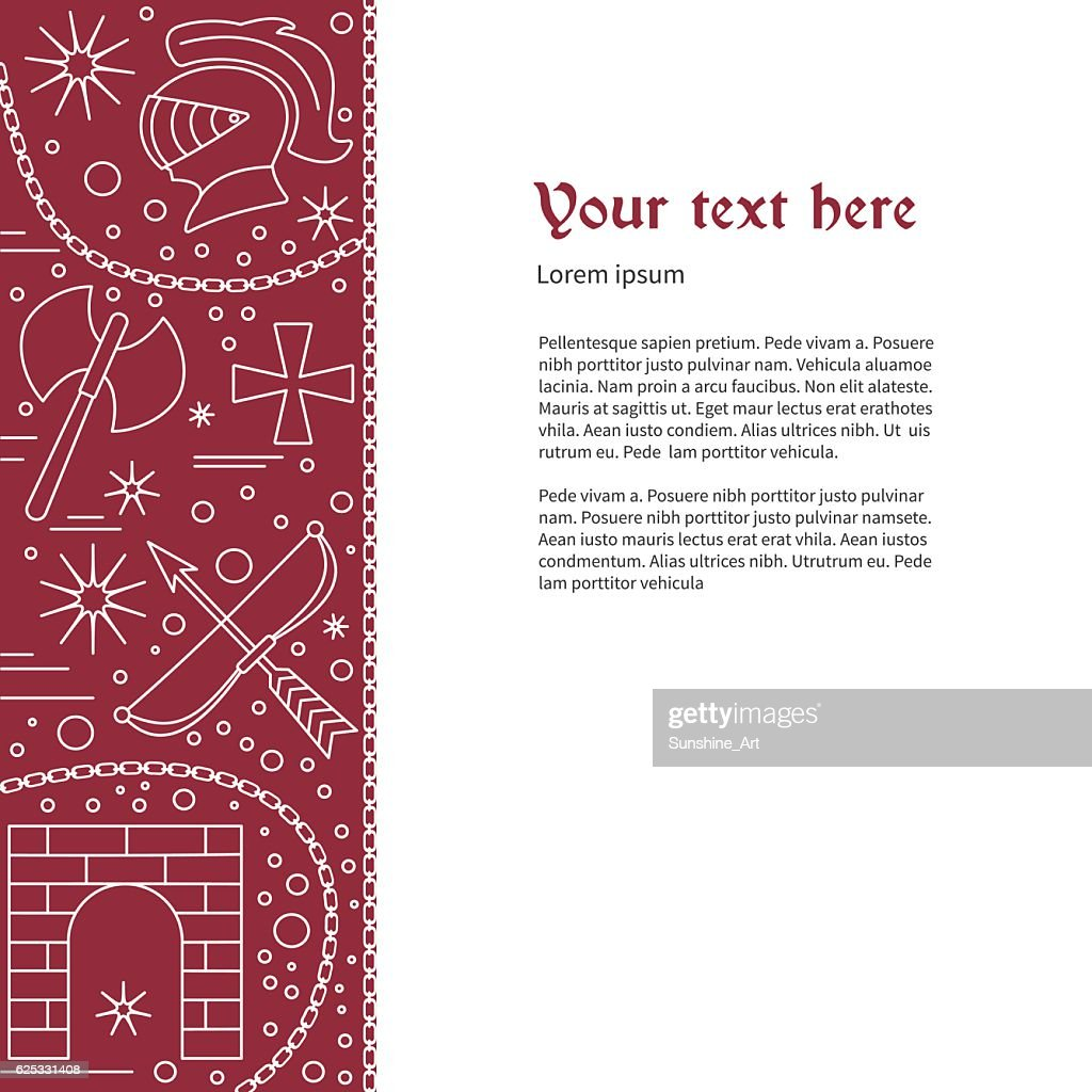 Flyer, poster template with medieval line icons
