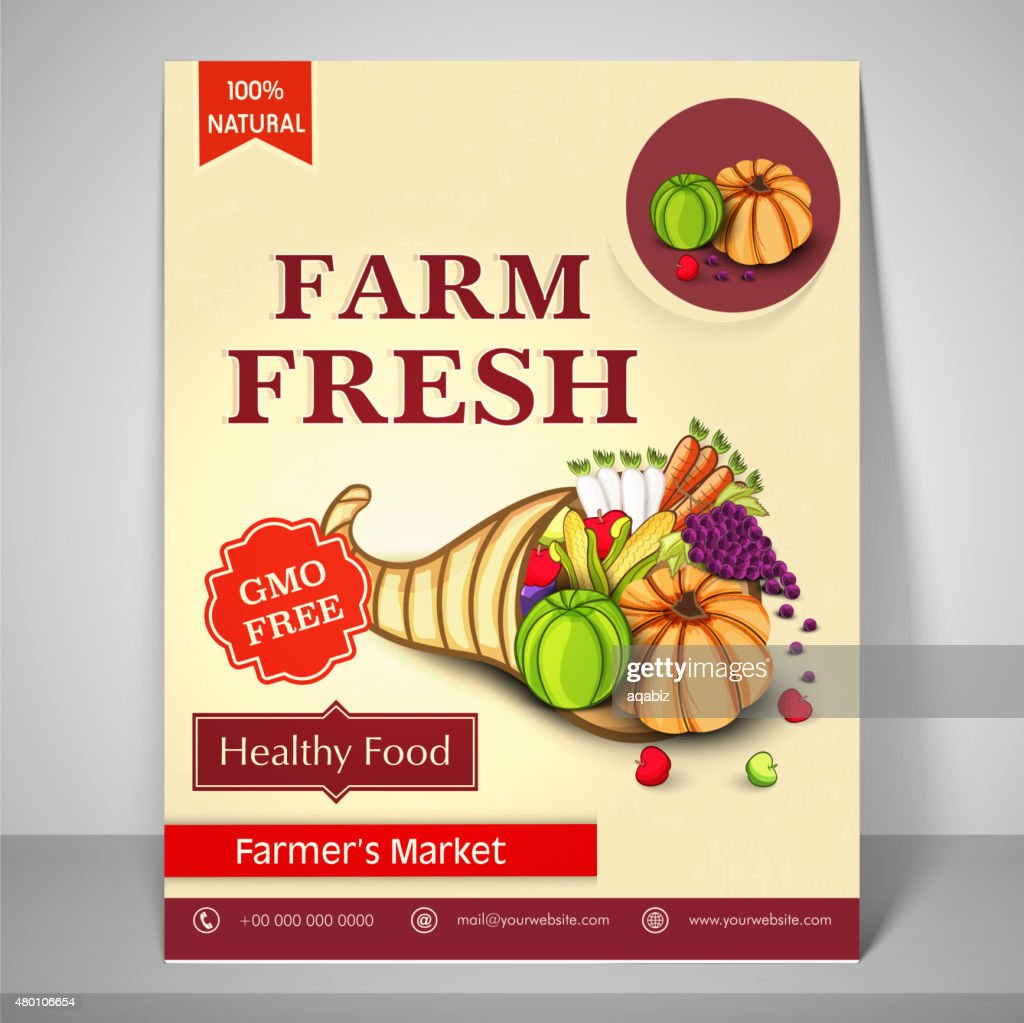 Flyer, template and brochure for farmer's market.