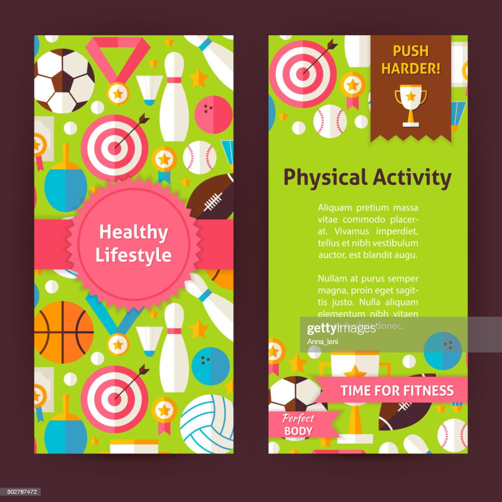 Flyer Template of Healthy Lifestyle Objects and Elements