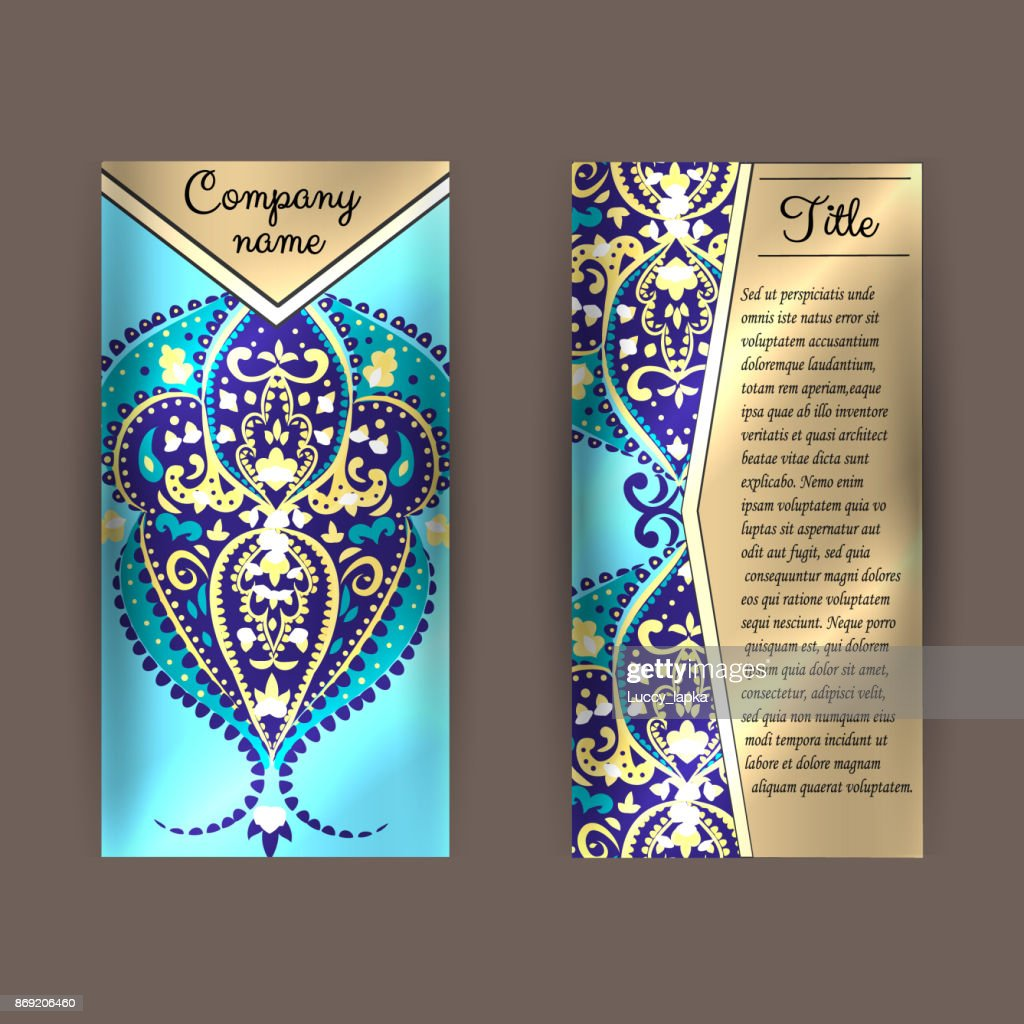 flyer template with round ornament front page and back page vector