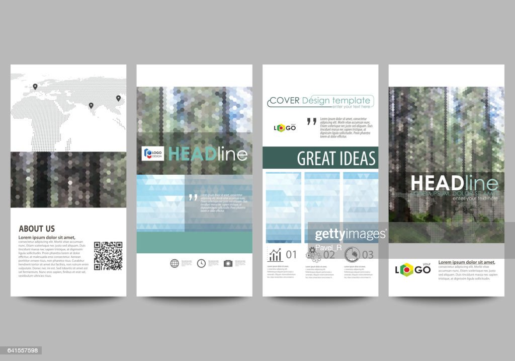 Flyers set, modern banners. Cover design template, abstract vector layouts. Colorful background made of triangular or hexagonal texture for travel business, natural landscape in polygonal style