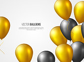 Flying 3D glossy balloons in golden and black colors. Decorative elements for party invitation design, holiday background with copy space, vector illustration.