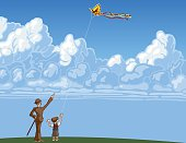 Flying a Kite on Summer Day