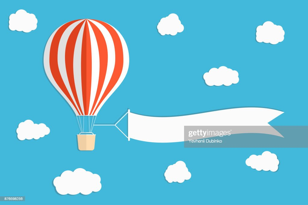 Flying advertising banner. Hot air balloon with vertical banners on blue sky background