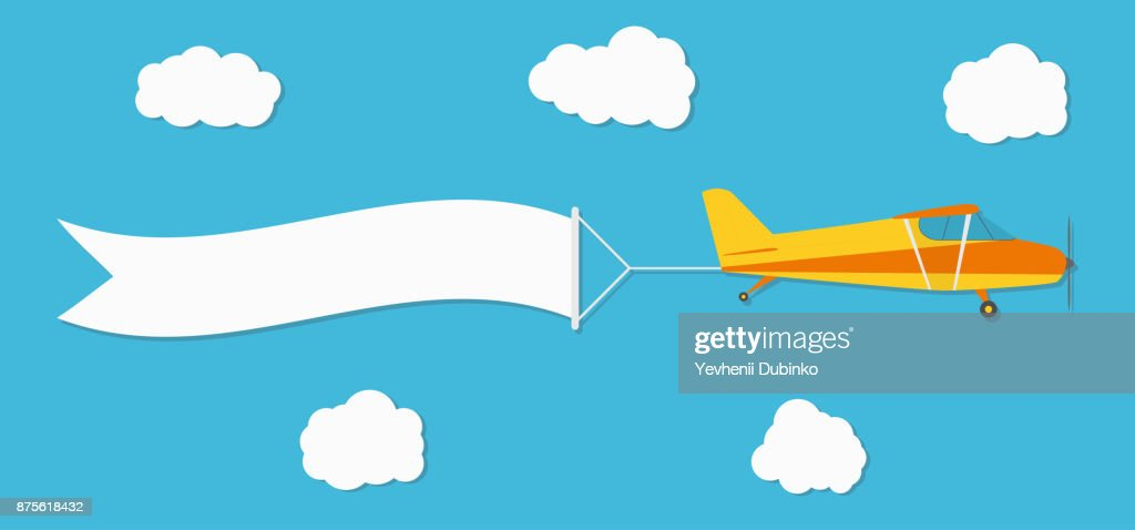 Flying advertising banner. Plane with horizontal banner on blue sky background