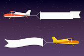 Flying advertising banner. Planes with horizontal banners in night outer space background
