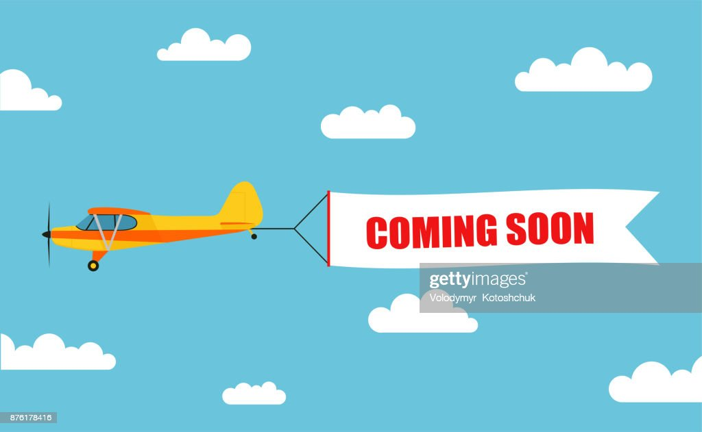 Flying advertising banner, pulled out by light aircraft with the inscription 'COMING SOON' - stock vector.
