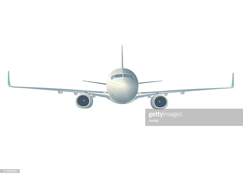 Flying  airliner  isolated on white, front view.