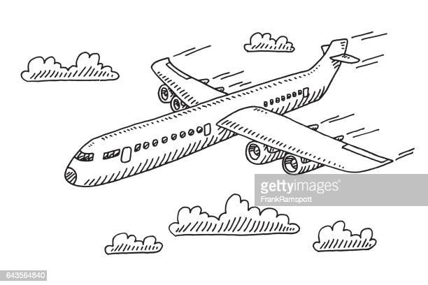 flying airplane drawing - air travel stock illustrations, clip art, cartoons, & icons