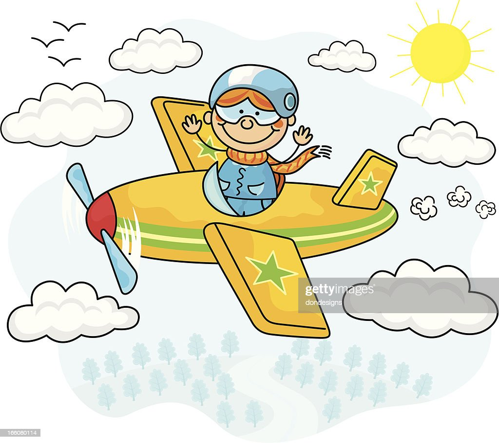 flying airplane kids vector art