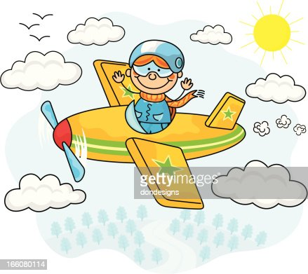 flying airplane kids vector art getty images