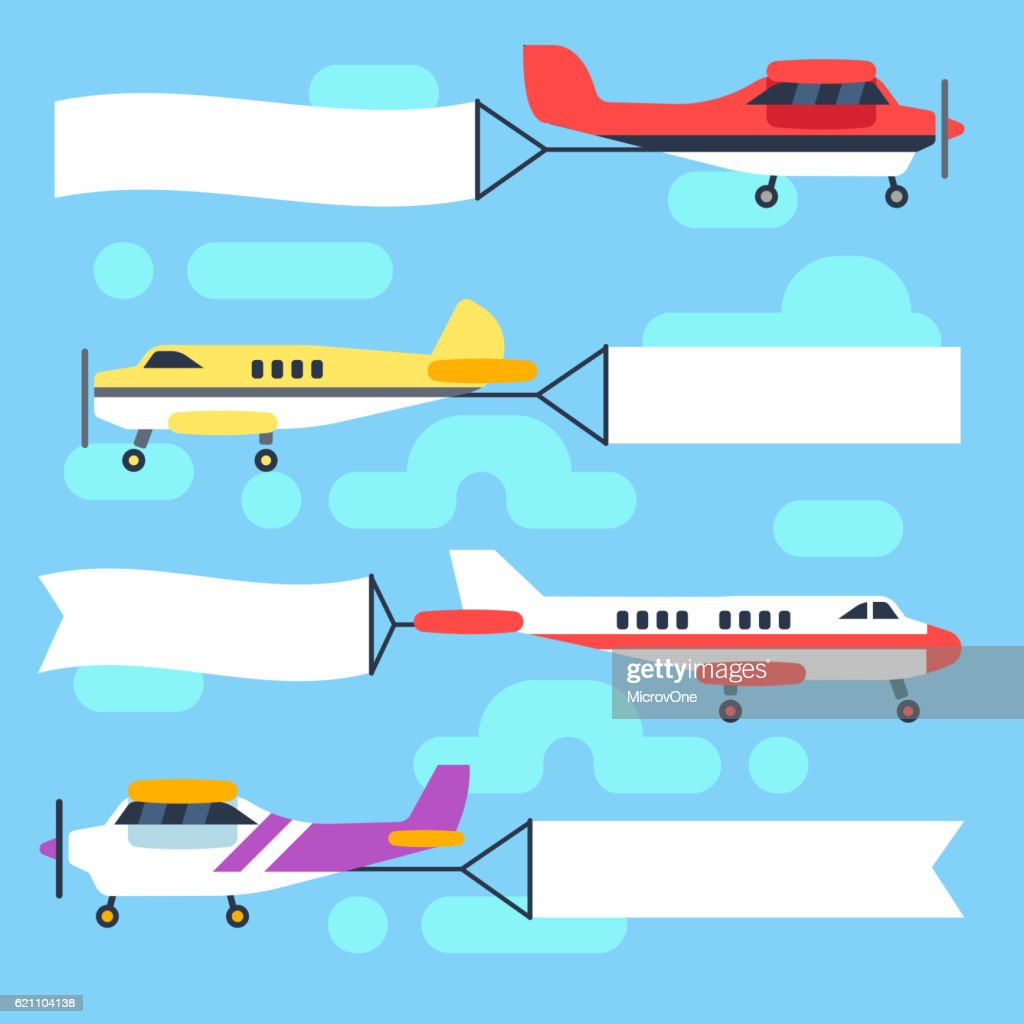 Flying airplanes and helicopters with blank banners flags vector set