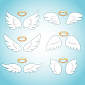 Flying angel wings with gold nimbus. Angelic wing cartoon vector set.
