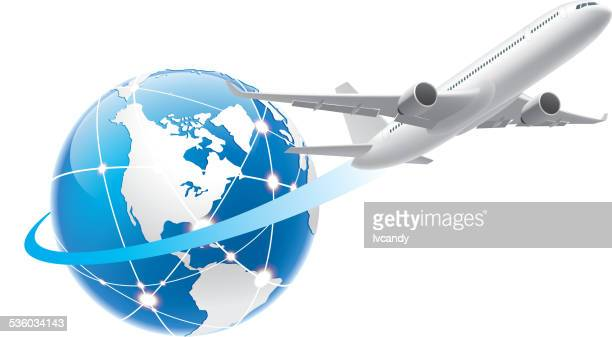flying around the world - air travel stock illustrations, clip art, cartoons, & icons