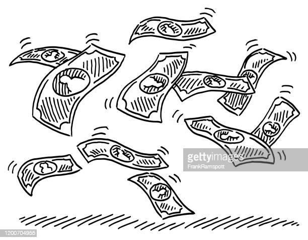 fliegende banknoten zeichnung - frankramspott stock-grafiken, -clipart, -cartoons und -symbole