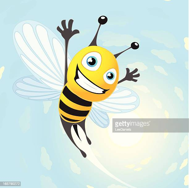 flying bee on a sunny background - wasp stock illustrations, clip art, cartoons, & icons