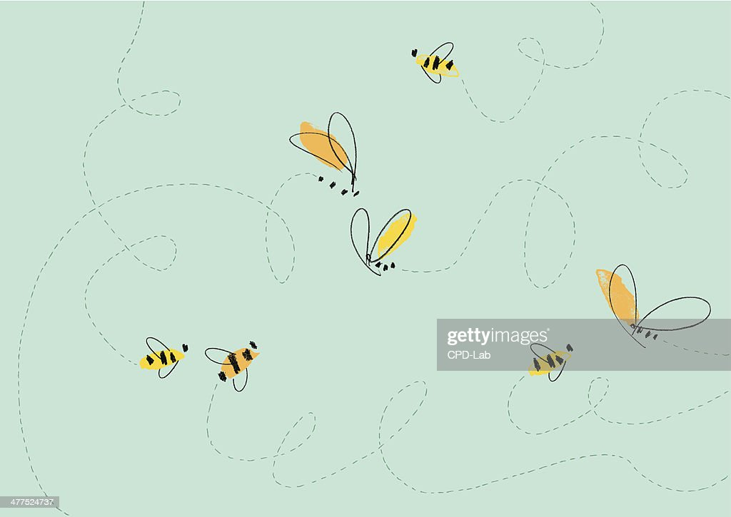 Flying Bees Illustration