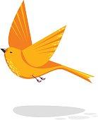 Flying bird flat style illustration. Geometrical design - cute animal