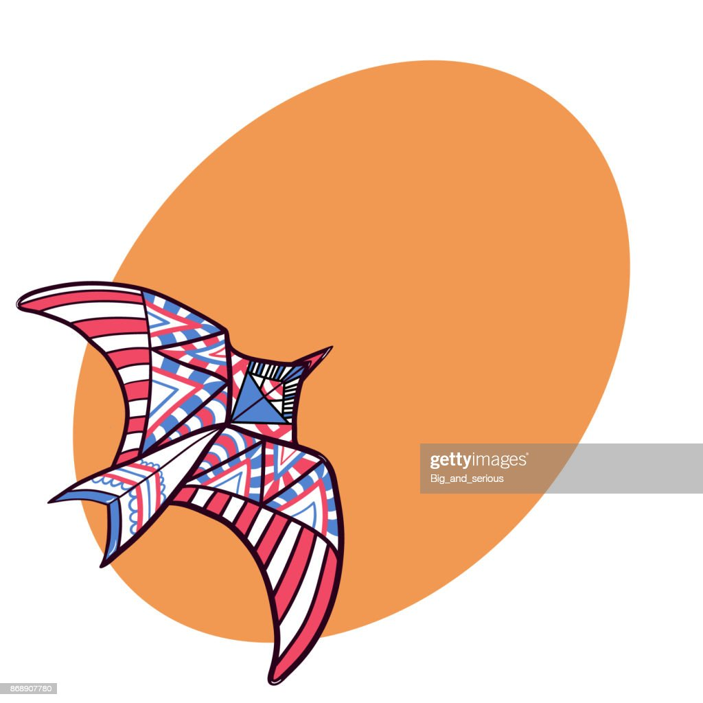Flying bird shaped doodle kite with space for text