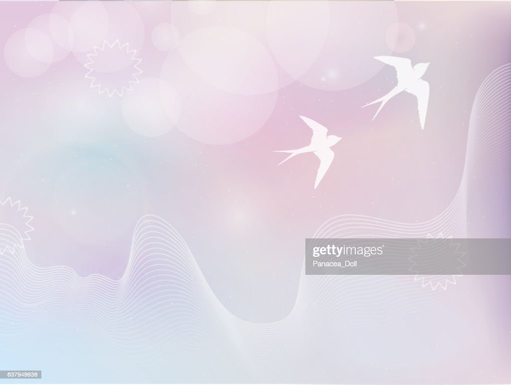 flying birds in pastel colors