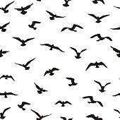 Flying birds tiled pattern. Freedom sign background. Animal wildlife