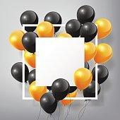 Flying black orange Balloons, square white blank frame, Halloween concept