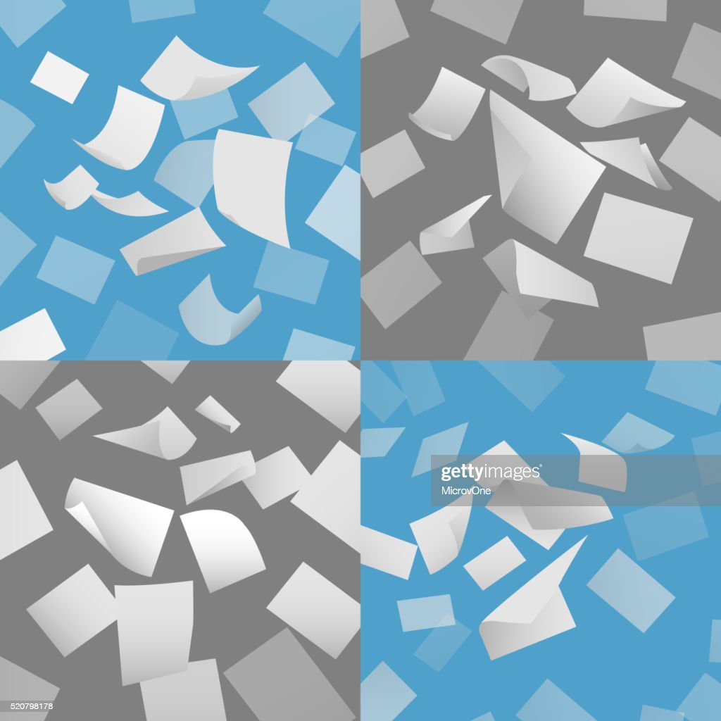 Flying blank paper sheets vector set