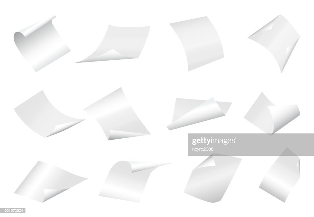 Flying blank paper sheets with curved corner on white background