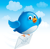 Flying blue bird with envelope