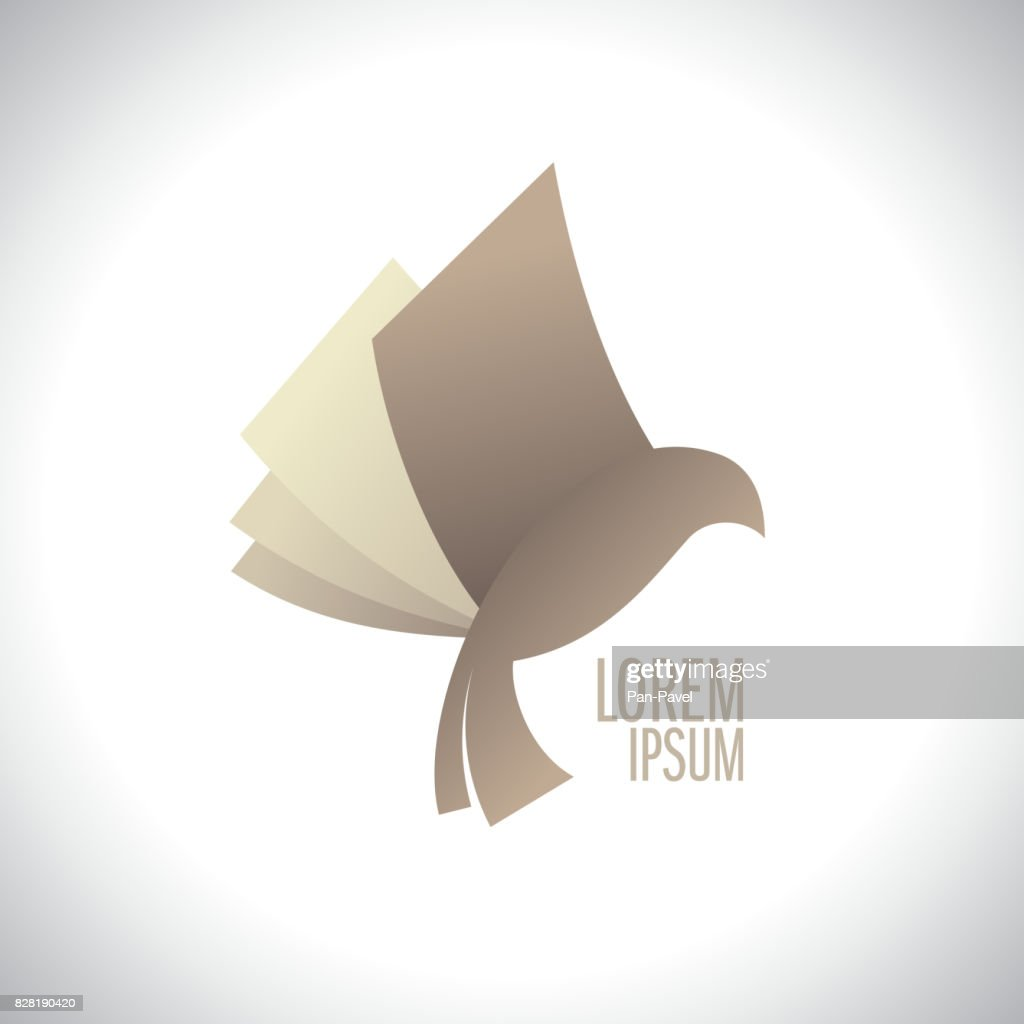Flying book like bird logo