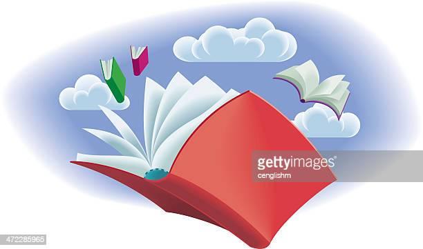 ilustraciones, imágenes clip art, dibujos animados e iconos de stock de flying libros - libros volando