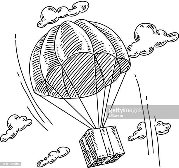Flying Box Parachute Drawing