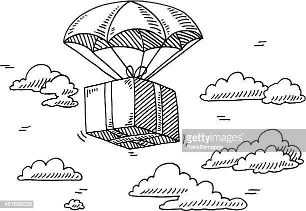 flying'parachute himmel malen - paket stock-grafiken, -clipart, -cartoons und -symbole